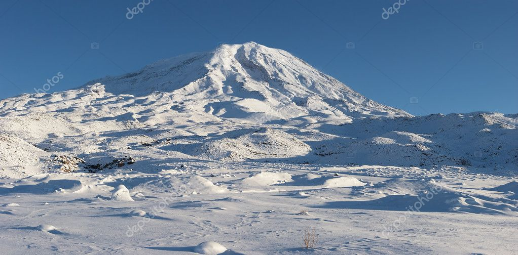 Panoramic image of Mount Ararat in winte