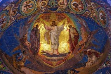 Jesus Christ mosaic in orthodox Church of the Savior temple, Saint Petersburg, Russia