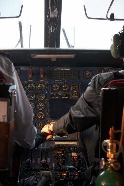 Inside of a plane flying to Lukla, Nepal