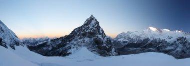 Rocky summit at sunrise panorama, Himala