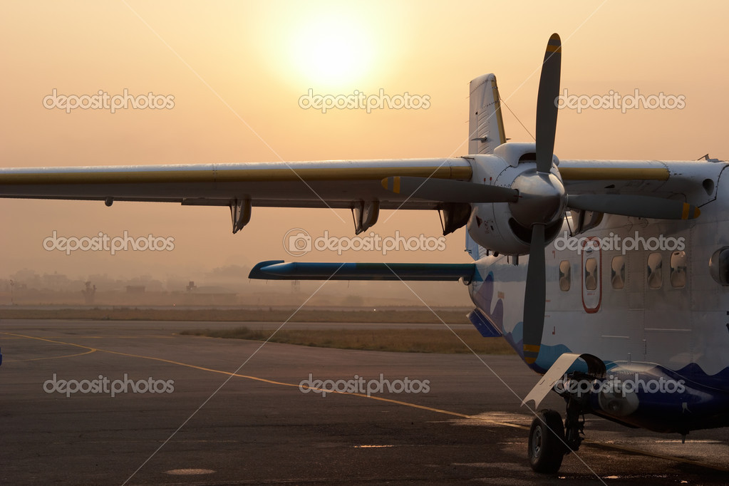 Small airplane in Kathmandu airport, Nep