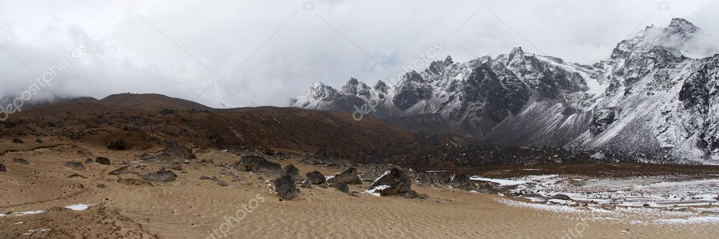 Sand beach near snow mountains, Nepal