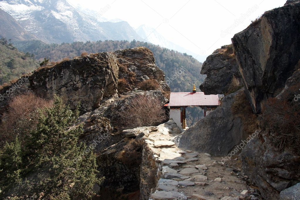 Small buddhist temple at Everest trail,