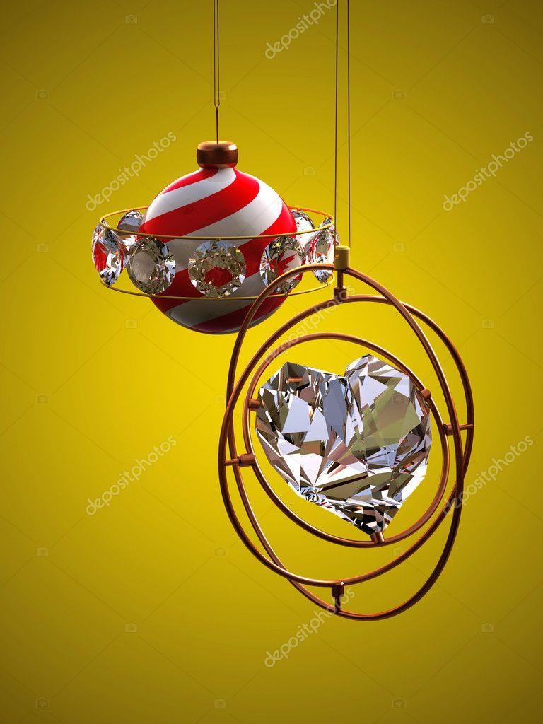 Christmas design - heart and christmas t