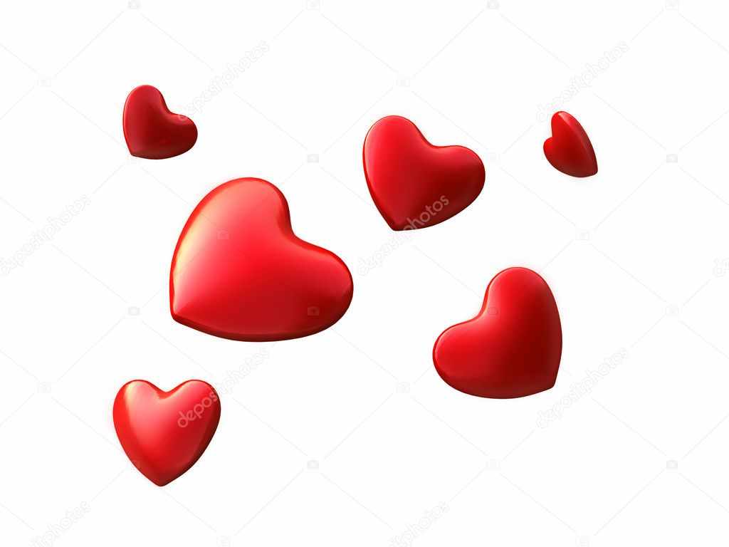 3d hearts on a white background