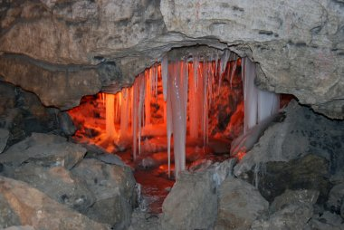 Ice with lighting in cave