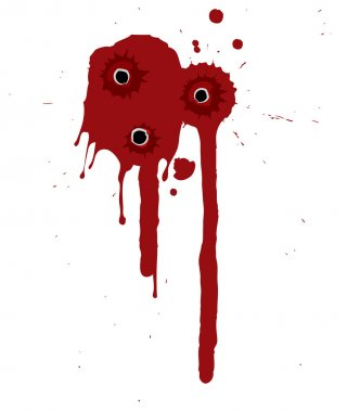 Splattered blood pattern with drips and shotgun holes stock vector