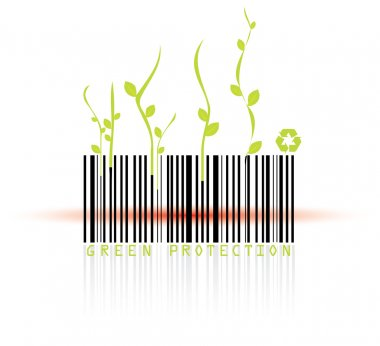 Barcode and red reader beam