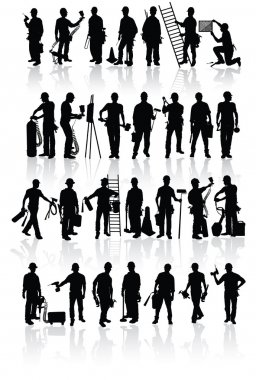 Isolated construction workers silhouettes with different tools stock vector