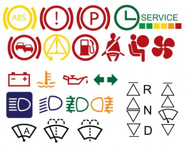 Car dashboard signs isolated on white background clip art vector