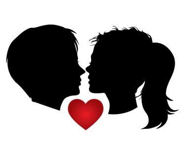 Vector portrait, romantic couple kisses valentines day clip art vector