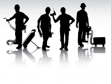 Workers with tools