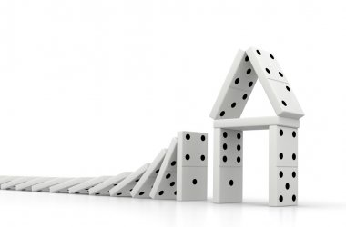 Domino Effect Real Estate Crisis Concept 3D Rendering.