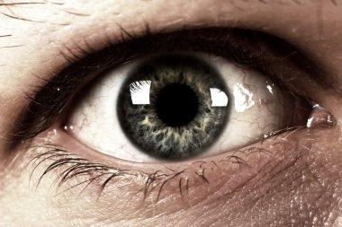 Human eye close to dark style stock vector