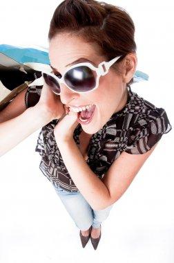 Women embarrassing with shopping bag