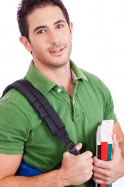 Student carrying bag and books