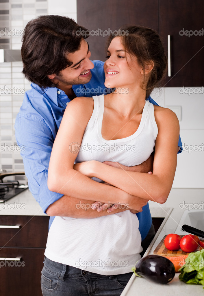 Husband About To Kiss His Wife Stock Photo