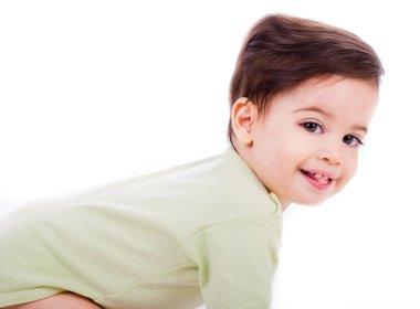 Closeup of caucasian baby smile