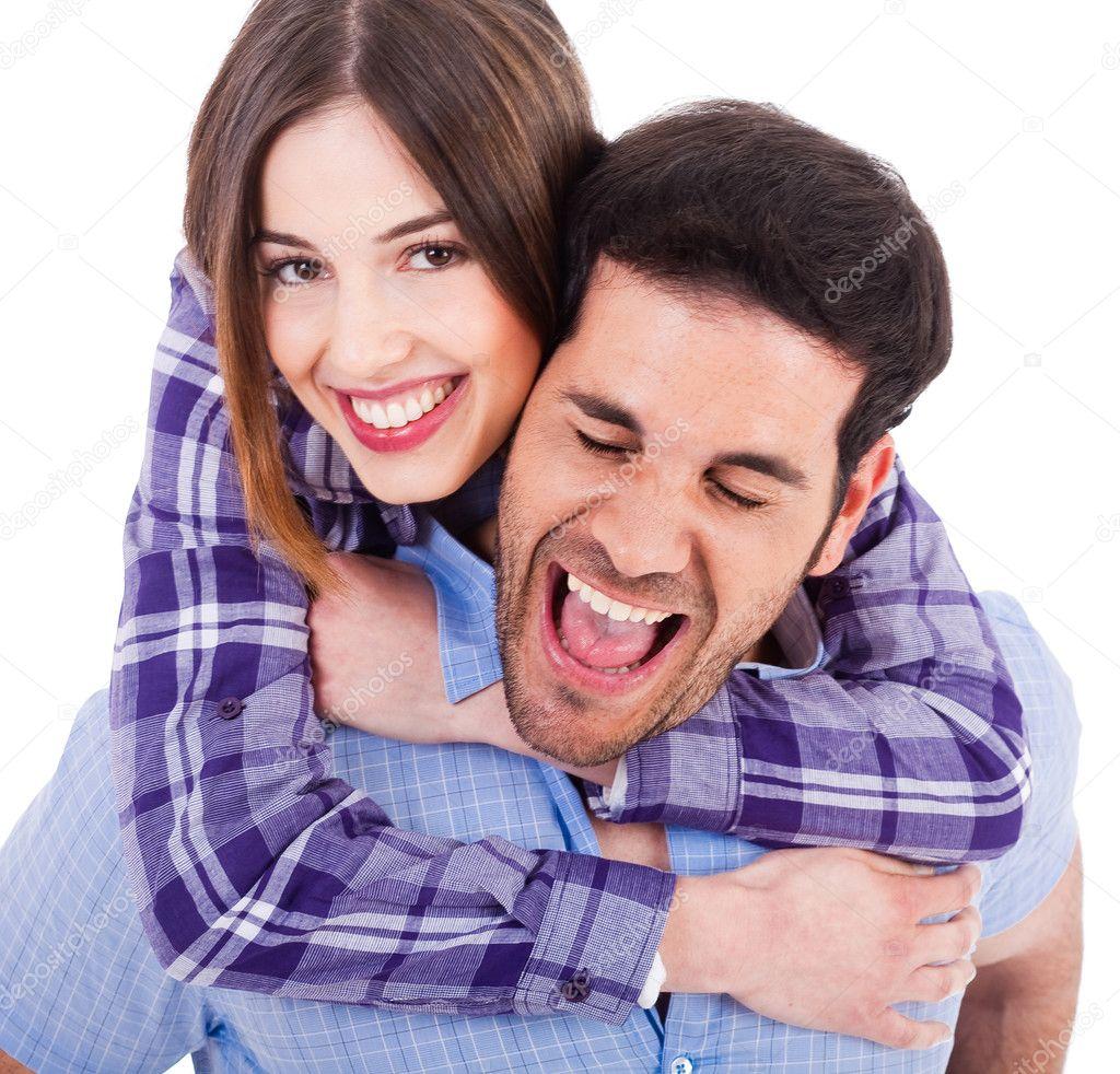 Cute exotic couple happily enjoying