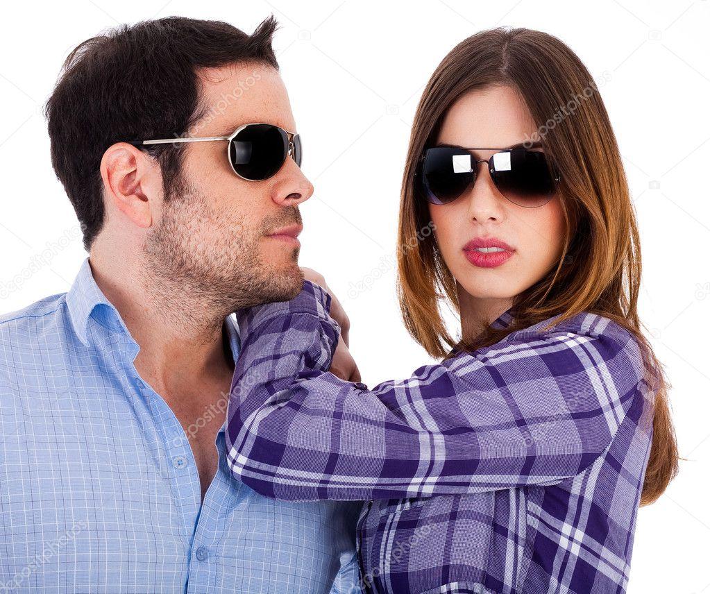 Stylish Couple Wearing Sunglasses