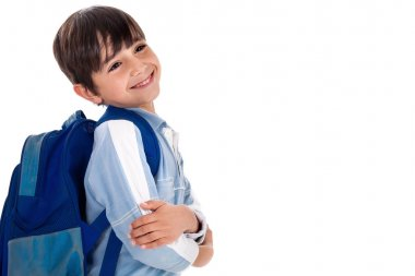 Boy ready for school with his bag