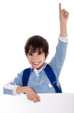 Elementary school kid raising his hand