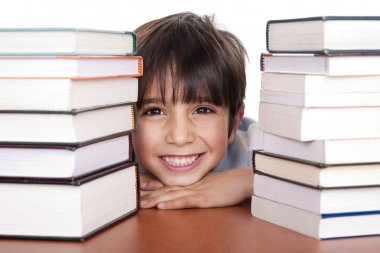 Young school boy surrounded by books