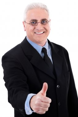 Successful business man shows ok sign