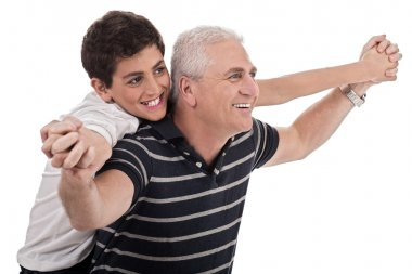 Piggyback ride given by grandfather