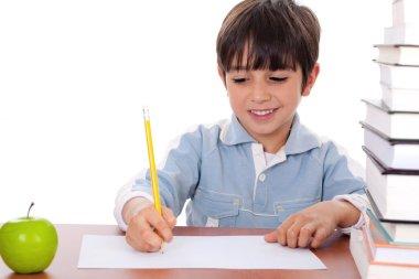 School boy doing his homework with