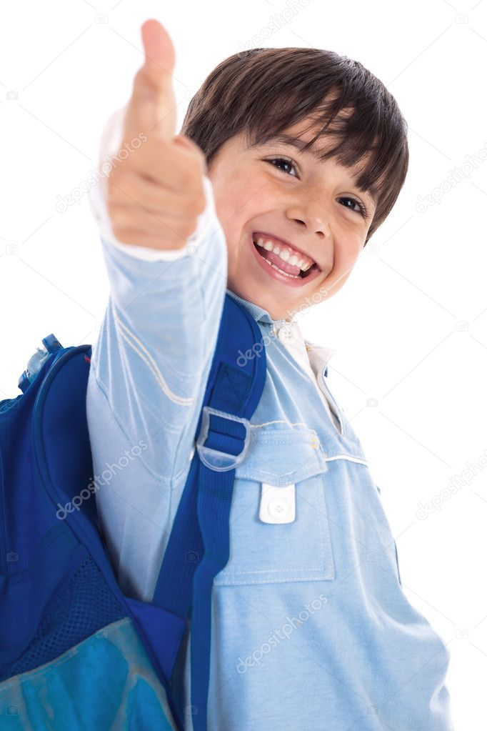 Kinder garden boy gives thumbs up