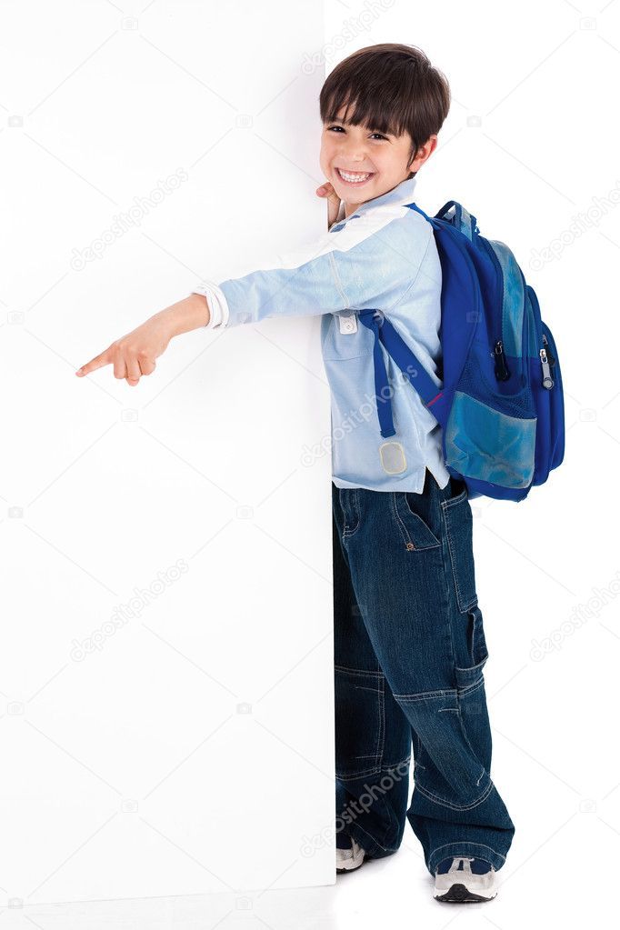 Young kid happily standing behind