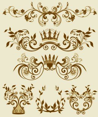 Floral decorative patterns in stiletto baroque and rococo