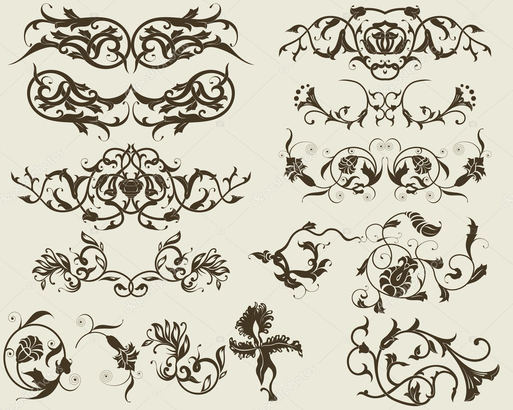 Floral elements for design