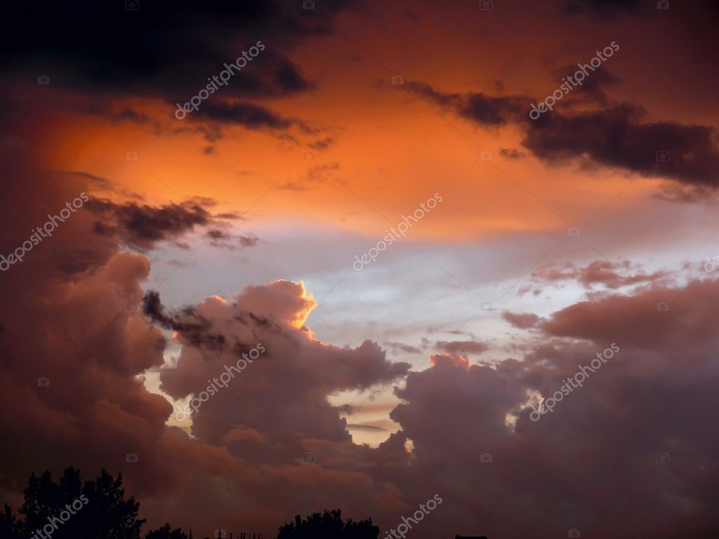 Storm clouds. Sunset.