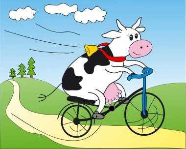 Cow on a bicycle