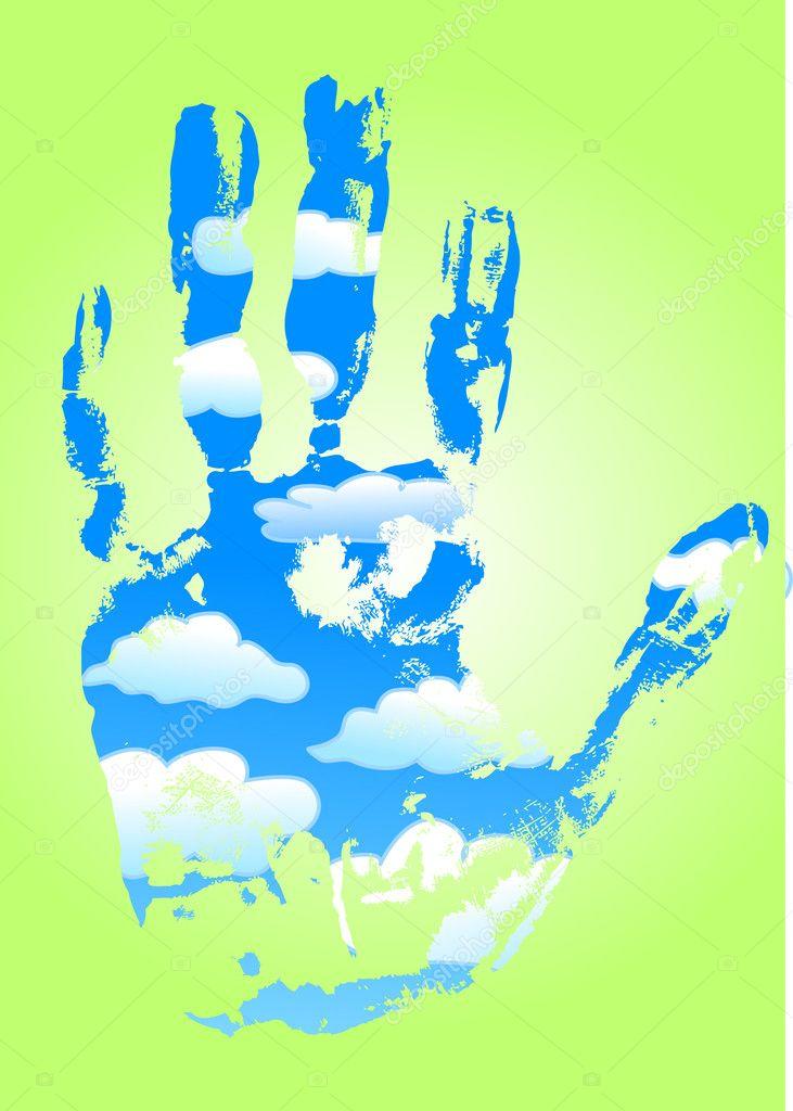 Cloudy hand imprint