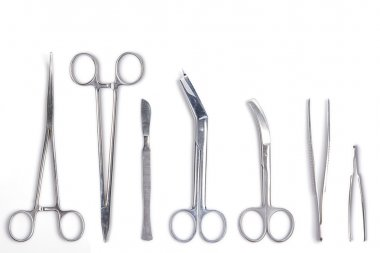 Surgeon tools - scalpel, forceps, clamps