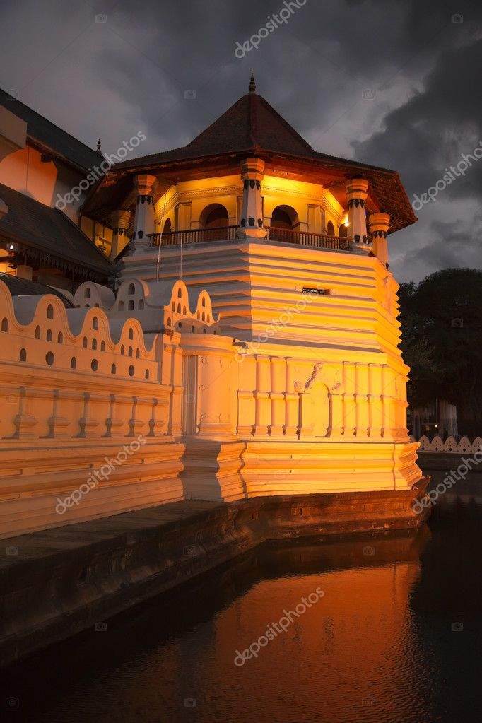 Very important Buddhist shrine - Temple of the Tooth. Evening. Sri Lanka