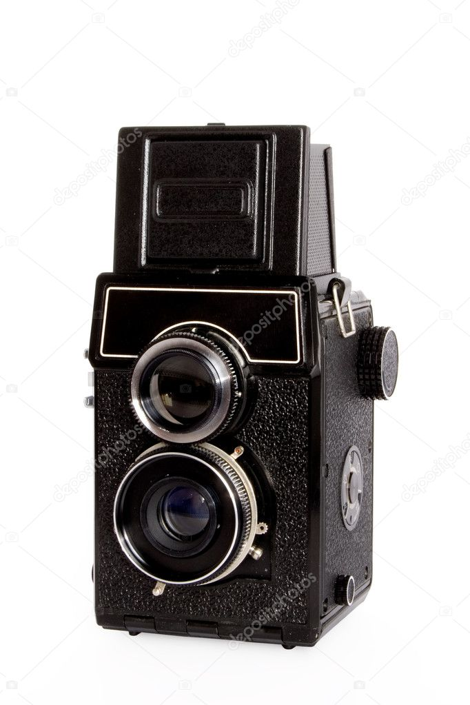 Old twin-lens reflex camera isolated