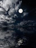 měsíc a mraky nad mořem v noci