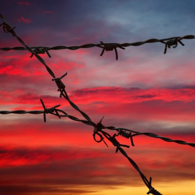 Barbed wire in sunset sky