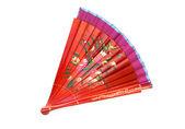 Čínská luť dřevěné ventilátor na bílé
