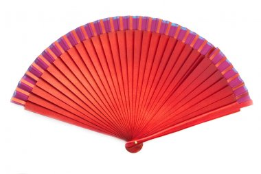 Chinese red wooden fan on the white