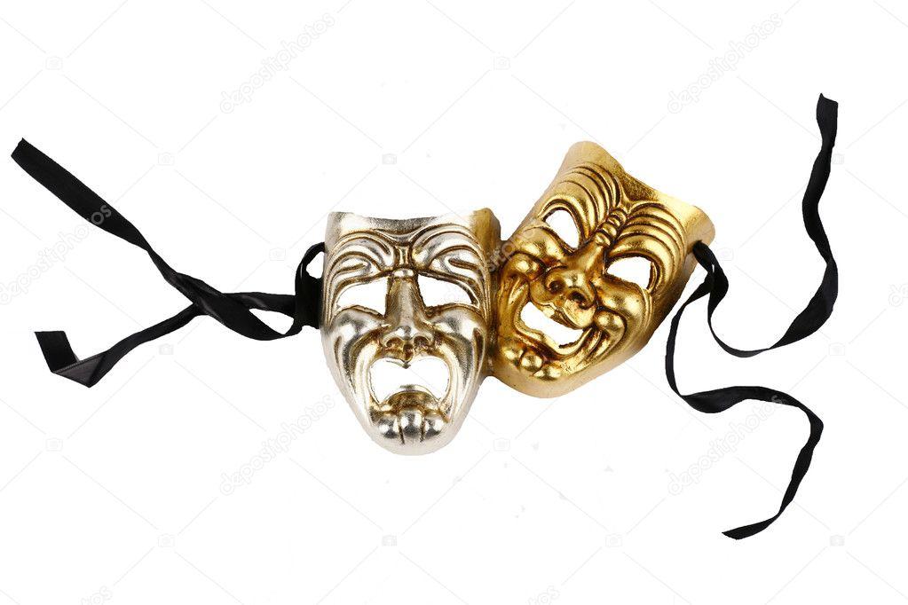 Máscaras teatrales risas y llanto — Foto de Stock