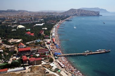 View on Quay of the resort city. Sudak.