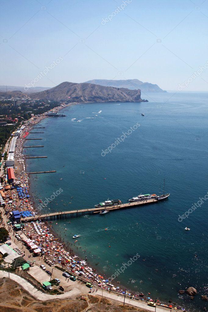 View from height on Quay of the resort city. Sudak. Ukraine.
