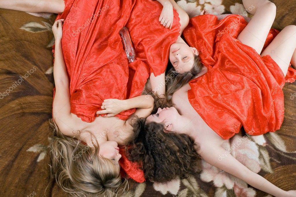 Three sleeping beautiful girls after a p