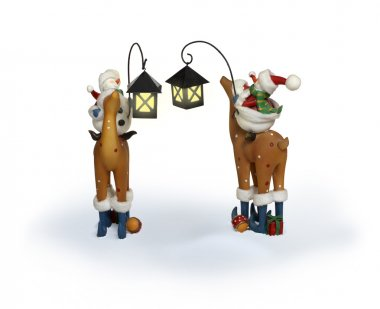 New Year snowman couple riding deer