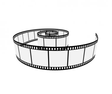 Isolated film strip realistic 3d layout